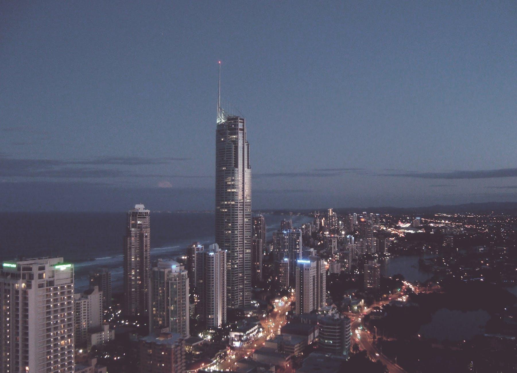 aerial bank buildings city