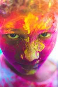 painted face of person portrait photo